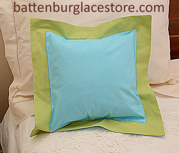 "Pillow Sham.12""x12"" Square. AQUA Blue with MACAW Green border"
